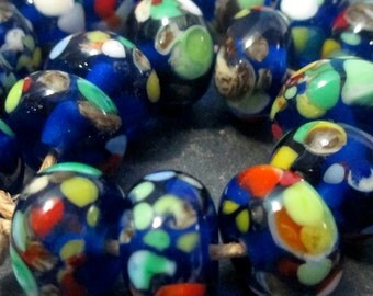 10 Handmade Blue Fritted Accent Lampwork Glass Beads