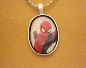 Spiderman recycled comic book pendant