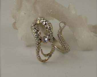 SALE - Diamond Engagement Ring, Wedding Band, Sterling Silver, 14K gold bezel Octopus Jewelry, Tentacle Jewelry, Men's jewelry