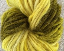 Yellow ombre self-striping handspun yarn tricolor three colors striped yellow mohair wool rustic simplistic simple