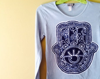 Hamsa Batik Eco yoga T Shirt long sleeved women hand painted gray
