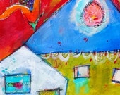 Funky Graffiti Row House   whimsical  style  BOOKMARK in red green white blue yellow  by Jodi Ohl