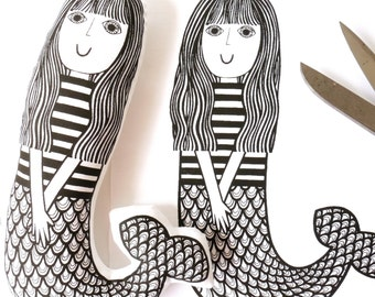 Screen Printed Mermaid Fabric Panel / kit for Toy, Doll, Cushion, Wall art by Jane Foster  - retro monochrome