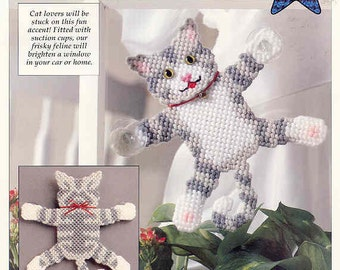 Window Cat ~ plastic canvas pattern ~ Leisure Arts pattern