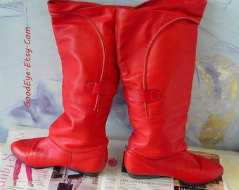 Vintage Red Leather Slouch Boots size 7 .5 M Eu 38 UK .5  SANTANA Pirate  FLEECE Lined Canada