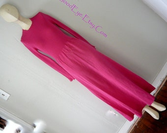Vintage 70s SWEATER Knit Maxi Dress Hot Pink Stretch Small Dress Floor Length Size 4 6 8 Long Sleeve