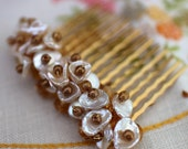 Keishi Pearl  Haircomb - Amber Crystal - Golden Glow- Bridal Hair Comb-Bridal Accessories