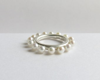Sterling Silver Pearl Statement Ring. Custom Pearl Ring.