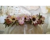 floral head wreath whiskey daisy bridal flower crown boho women's fashion accessory hair flowers boho renaissance costume headwreath
