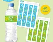 Instant download - SCIENCE Party Large Drink Bottle Labels (Blue, Green) - DIY Printable
