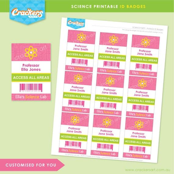 SCIENCE Party Lab ID Badges Pink DIY Printable