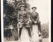 vintage photo Boys on a sign on the road Caps Short knicker Pants
