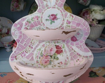 20% off Use Coupon Code CHRISTMASSALE2016 Shabby Prim Pink China Rose Mosaic Wall Hanging Bowls