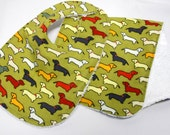 Bib and Burp Cloth Set, Baby Shower Gift, Welcome Baby Gift:  Little Doxies on Green