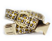 Brown dog collar - Tiny Owls - Brass Owls - Limited Supply