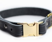 Black Leather Dog Collar - Gold Brass Quick Release- 1 inch Wide