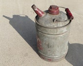 Antique Galvanized Metal Vintage Kerosene Oil Gas can Original RED Wooden Handle