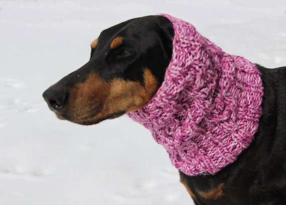 Hand knitted Snood for Dog classic cable pattern L Dog
