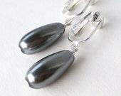 Gray Pearl Teardrop Clip On Earrings, Silver Ear Clips, Steel Grey Glass Pearl Drop Simple Clip Earrings, Dark Pewter, Pearl Drop Gray