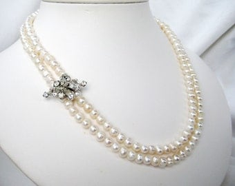Rhinestone Pearl Necklace, Two Strand Bridal Necklace, Vintage Rhinestone Accent, Silver Box Clasp, White Pearl Wedding Necklace, Jessa