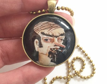 Funny gag gift combover smoking man art pendant with necklace. Heather Sims