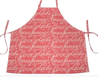 Full Bib Apron Braemore Cotton Fabric Tangerine color pocket long ties Amor Liebe Forever writing on fabric