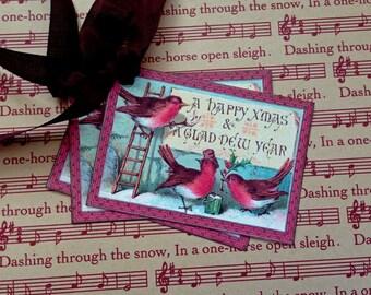Bird Tags - Vintage Bird Tags - Christmas Red Birds Tags - Set of 3