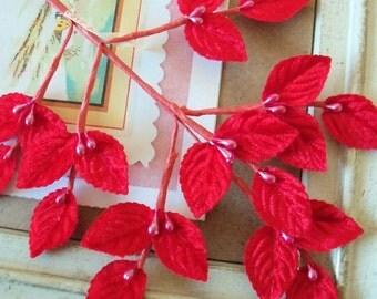 Vintage / Millinery Leaves / One Sprig / Twenty-One Leaves / Made in Japan / Red Velvet