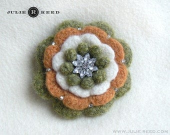 Handmade Crocheted, Felted and Embellished Wool Brooch Pin in Green, Cream & Orange
