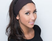 Fabric Headbands, Wide, Womens, Solid Dark Chocolate Brown Head Bands