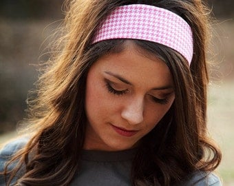 Pink Headband, Houndstooth Headband, Cute Headband, Head Bands for Work, 2 Inch Headband, 2 Inch Head Band, Headbands for Women, Ladies