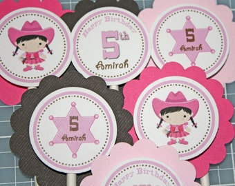 COWGIRL Cupcake Toppers / Cowgirl Toppers / Western Cupcake Toppers / Cowgirl Birthday Party / Cowgirl Baby Shower / Cowgirl Cupcake Picks