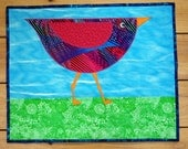 Quilted Wall Hanging, Whimsical Bird Applique , Bright Colors, Small Quilt, Child's Room