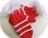 Mittens, Children, Hand Knit, Red and White, Fur Trim, 1 to 2 years