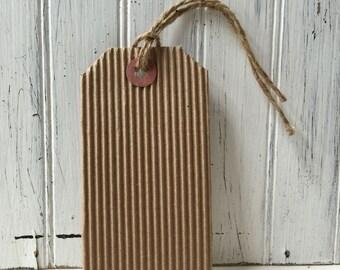 10 Corrugated Tags, Kraft tags, Rustic Luggage Tags, Escort Tags, Craft Tags, Card Making Tags