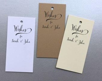 50 Wedding Wish Tags, Personalized Wedding Advice Tags, Wishing Tree Tags, W001