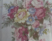 Pillow Top Barkcloth Cabbage Roses Nubby Fabric For Pillow Cabbage Roses  sewbuzyb