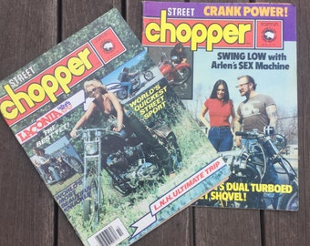 Street Chopper Magazine 1980s set of 2 Chopper Culture Motorcycle Adult biker Lifestyle reference Original good condition