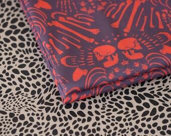 Charnel Damask - Damask Fabric - Small Piece - Red on Purple