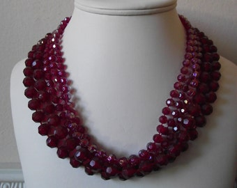 VINTAGE Crimson Red Multi-strand Beaded Necklace