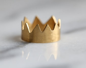 """Gold wedding band, crown vermeil wedding ring """"Mi Rey"""" in gold plated silver or silver ring,"""