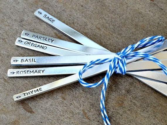 Customized Garden Markers, Hand Stamped Aluminum Herb Markers, Set of 8