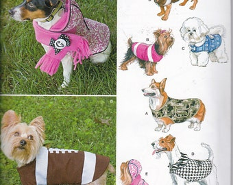 Simplicity 1239  Adorable Wrap Around Dog Coats Sewing Pattern in Three Sizes S-M-L Dogs New UNCUT