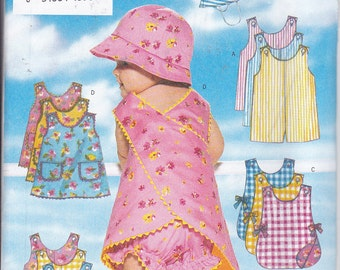 Butterick 5439 Baby Girl Toddler Romper Jumper Panties Hat Easy Sewing Pattern Sizes NB-S-M