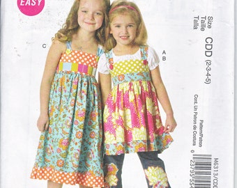 McCalls 6313 Girls Tops Dress Belt Ruffle For Purchased Jeans Easy Sewing Pattern Sizes  6-8 Out of Print UNCUT