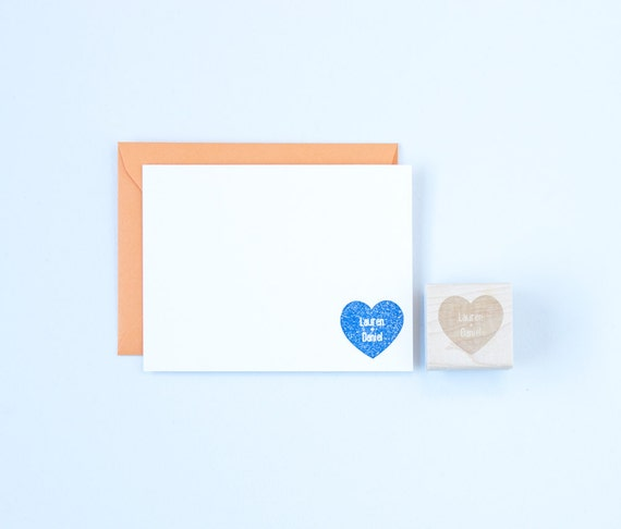 Heart & Names Solid Rubber Stamp Wedding Anniversary Love