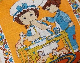 Linen Tea Towel : Mod Kitsch Vintage Dish Towel, Kitschy Kitchen Towel. NOS Unused, 1970s Folk Style, Large Printed Bright Orange and Blue.