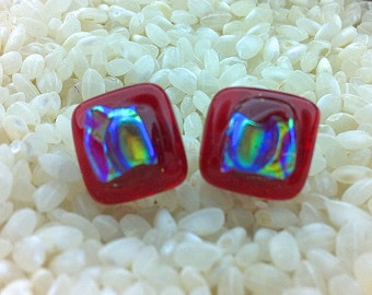Fused Glass on Sterling Silver Post Stud Earrings - Blood Red and Iridescent Rainbow - 10mm Sq