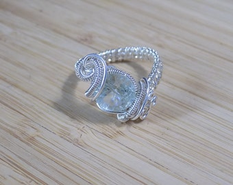 Green Amethyst Ring Faceted Bead Prasiolite Sterling Silver Wire Wrapped Ring Size 8.5 Wire Wrap Ring Wire Wrapped Jewelry Handmade