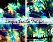 Textile Artist Made Fabric 4 Panels Blue Purple Tree Forest Landscape Fiber Art